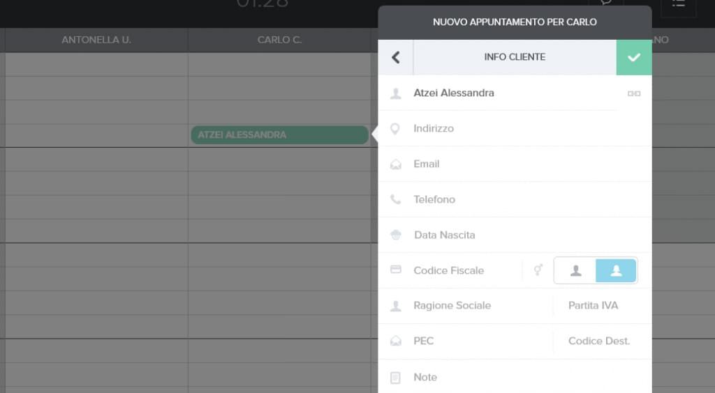 Schermata della fatturazione elettronica del gestionale Uala